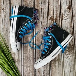 Converse Zip Back Hi Black Cyan Sneaker Sz 2  NWOT